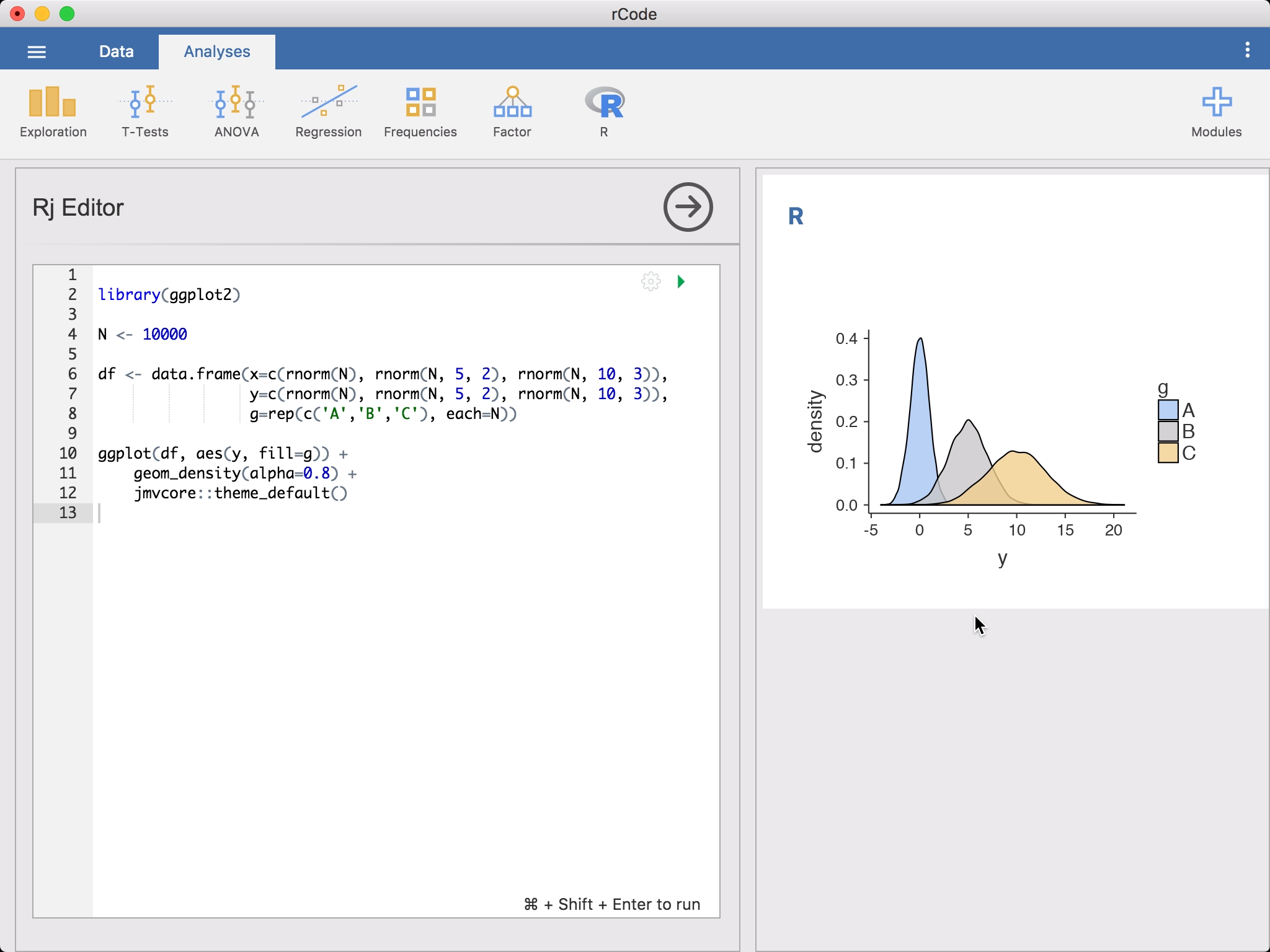 Rj Editor – Analyse your data with R in jamovi